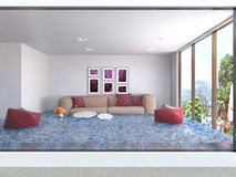 Interior of the house flooded with water. 3d illustration.  Royalty Free Stock Photos