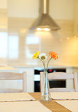 Interior house, large modern kitchen, dining table Stock Image
