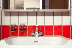 Interior house, sink of bathroom Royalty Free Stock Images