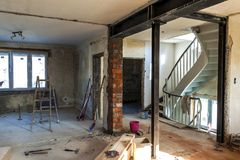 Interior of a house under construction. Renovation of an apartment stock images