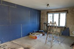 Interior of a house under construction. Renovation of an apartment royalty free stock photography