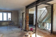 Interior of a house under construction. Renovation of an apartment royalty free stock image