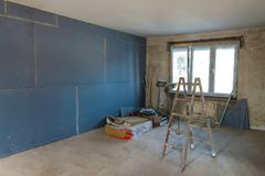 Interior of a house under construction. Renovation of an apartme. Nt stock photos