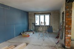 Interior of a house under construction. Renovation of an apartment stock photos