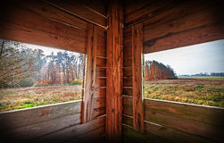 Interior of hunting tower in autumn season Stock Photos