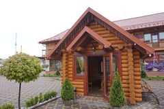 The interior of the Hutsul cafe in the Carpathian Mountains. Ukraine. royalty free stock photo