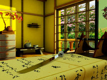 Interior i japansk stilett Arkivbilder
