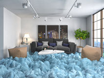 Interior with ice. Air conditioning air cooling concept. 3d illu Royalty Free Stock Images