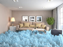 Interior with ice. Air conditioning air cooling concept. 3d illu Royalty Free Stock Image