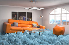 Interior with ice. Air conditioning air cooling concept. 3d illu Royalty Free Stock Photography