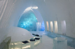 Interior in the ice hotel Stock Photos