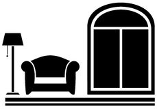 Interior icon with armchair, floor lamp and window Royalty Free Stock Images