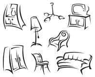 Interior icon set. Set of monochrome interior icons Royalty Free Stock Images