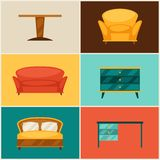 Interior icon set with furniture in retro style Royalty Free Stock Photography
