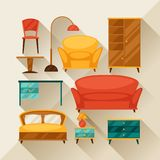 Interior icon set with furniture in retro style Stock Photos
