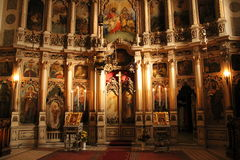 Interior, the iconostasis in the Orthodox Church Stock Photos