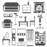 Interior Icons Black Set Royalty Free Stock Image