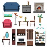 Interior Icons Flat Set Royalty Free Stock Photography