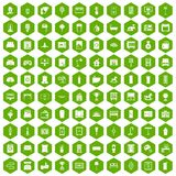 100 interior icons hexagon green. 100 interior icons set in green hexagon isolated vector illustration Stock Images