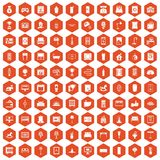 100 interior icons hexagon orange. 100 interior icons set in orange hexagon isolated vector illustration Stock Images