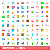 100 interior icons set, cartoon style. 100 interior icons set in cartoon style for any design vector illustration Royalty Free Stock Photos