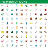 100 interior icons set, cartoon style. 100 interior icons set in cartoon style for any design illustration vector illustration