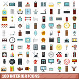 100 interior icons set, flat style. 100 interior icons set in flat style for any design vector illustration Royalty Free Stock Photo
