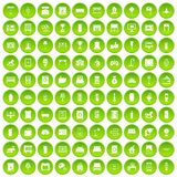 100 interior icons set green. 100 interior icons set in green circle isolated on white vectr illustration Stock Image