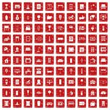 100 interior icons set grunge red Stock Photography