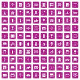100 interior icons set grunge pink. 100 interior icons set in grunge style pink color isolated on white background vector illustration Stock Photography