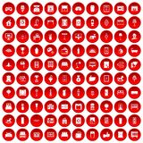 100 interior icons set red. 100 interior icons set in red circle isolated on white vector illustration Royalty Free Stock Photo