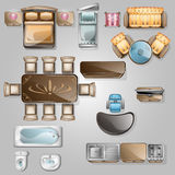 Interior icons top view. With sofa armchair couch isolated vector illustration stock illustration