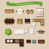 Interior Icons Top View. With sofa armchair couch  vector illustration Stock Photo
