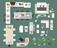 Interior icons top view, tree ,furniture, bed,sofa, armchair. For architectural or landscape design, for map.vector illustration royalty free illustration