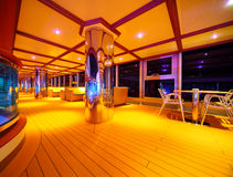 Interior of illuminated restaurant on cruise ship Royalty Free Stock Photos