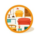 Interior illustration with furniture in retro Royalty Free Stock Photo