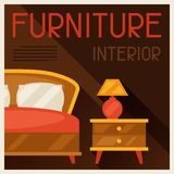 Interior illustration with furniture in retro Stock Photography