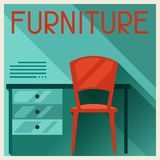 Interior illustration with furniture in retro Royalty Free Stock Photography