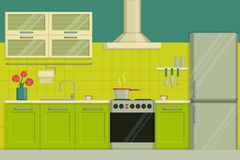 Interior illustration of a modern lime colored kitchen including furniture, oven, kitchen hood, utensils, fridge. Stock Photos