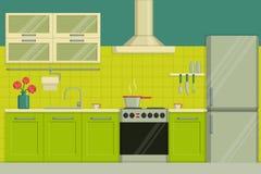 Interior illustration of a modern lime colored kitchen including furniture, oven, kitchen hood, utensils, fridge. Stock Photos