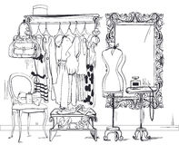 Interior illustration with women wardrobe Royalty Free Stock Photos