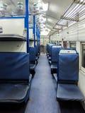 Interior indio del tren de pasajeros Nuevo coche general Foto de archivo