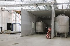 Interior of industrial building under construction Stock Image