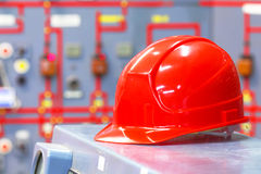 Interior of industrial factory with a helmet Royalty Free Stock Photo