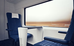 Interior Inside First Class Cabin Modern Speed Express Train.Nobody Blue Chairs Window.Comfort Seats and Table Business. Travel. 3D rendering.High Textured Row Royalty Free Stock Image
