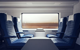Interior Inside First Class Cabin Modern Speed Express Train.Nobody Blue Chairs Window.Comfortable Seat and Table. Business Travel. 3D rendering.High Textured Stock Image