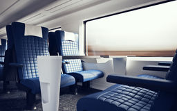 Interior Inside First Class Cabin Modern Speed Express Train.Nobody Blue Chairs Window.Comfortable Seats and Table. Business Travel. 3D rendering.High Textured Stock Image