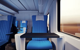 Interior Inside First Class Cabin Modern Speed Express Train.Nobody Leather Chair Window.Comfortable Seat and Table Royalty Free Stock Photos