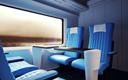 Interior Inside First Class Cabin Modern Speed Express Train.Nobody Leather Chairs Window.Comfortable Seats and Table. Business Travel. 3D rendering.High Royalty Free Stock Photo