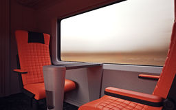 Interior Inside First Class Cabin Modern Speed Express Train.Nobody Red Chairs Window.Comfort Seats and Table Business. Travel. 3D rendering.High Textured Row Royalty Free Stock Photography